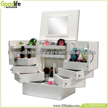 Modern Wooden Mirror Makeup Organizer Makeup Storage