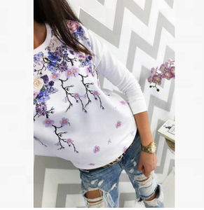 casual frock designs flower print shirts ladies Long Sleeve Tops Ladies Loose T Shirts Blouse