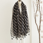 Wholesale 2018 latest kids scarf fashion black cute animal printed tassel cat scarf