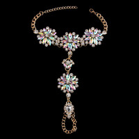 2017 New Unique Colorful Flower Crystal Anklet Bracelet Women Long Big Foot Chain Gold Plated Maxi Anklets Jewelry