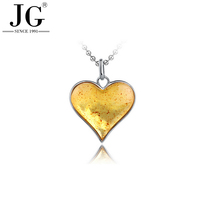 PA7414 Yellow gold amber stone necklace, natural amber glass jewellery, heart amber 925 silver pendant