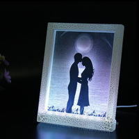 Desktop Display Decorative Plastic Picture Frame 3D Custom Digital LED Wedding Gift Item Acrylic Photo Frame with LED Light