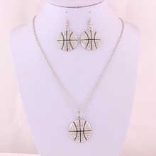 IMG 6421 Yiwu Huilin Jewelry new design Fashionable sport basketball pendant Jewelry Sets style new arrival fashion jewelry sets