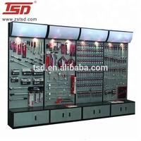 Metal Pegboard Rack For Hardware, Accessory Display Stand Shelf For Tool Shop With Light Box