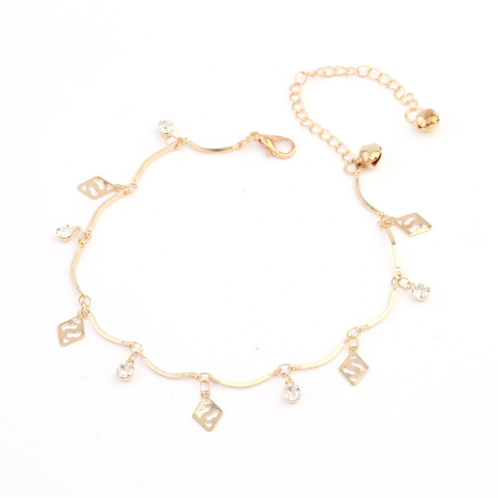 Simple Korean Style Hollow Diamond Beads Letters Bell Rose Gold ...