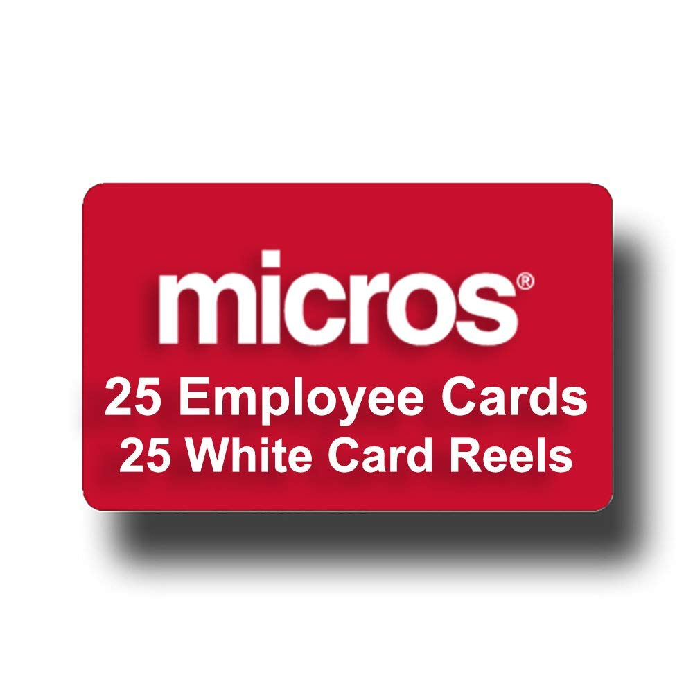 25 Pack of RED Micros POS Employee Swipe Cards (25 Red Cards) + 25 White Badge Reels W/Belt Clip - Amazon Prime Shipping