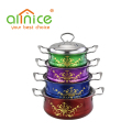 Hot Sell 3/4pcs spraying color flower design stainless steel cookware set