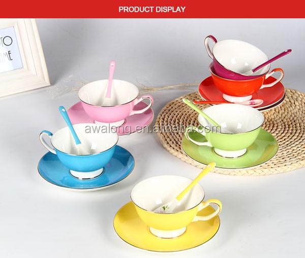Bulk Pure Green Color Tea Cups Wholesale / Tea Cups & Saucers Bone ...