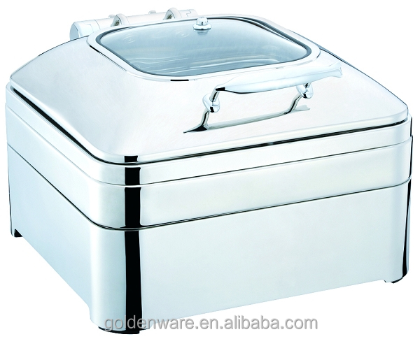 Stainless steel Hydraulic chafing dish retangular shape 6L glass lid Unique collection new frame