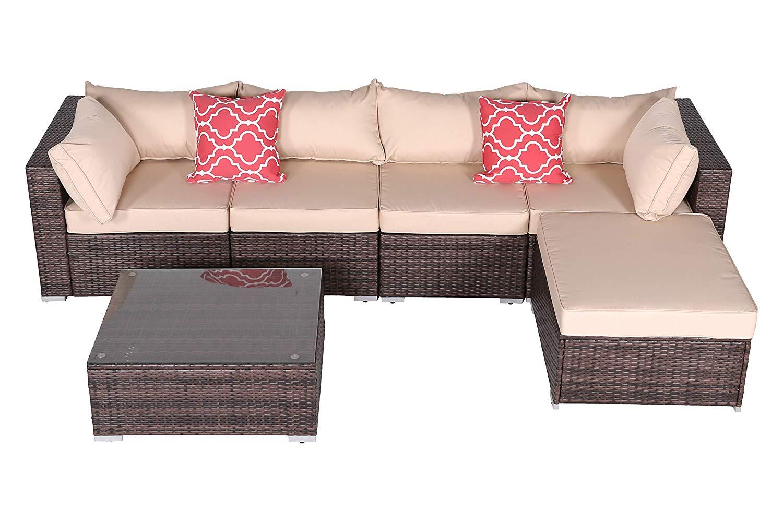 Do4U Patio Sofa 6-Piece Set Outdoor Furniture Sectional All-Weather Wicker Rattan Sofa Brown Seat & Back Cushions, Garden Lawn Pool Backyard Outdoor Sofa Wicker Conversation Set (6665-Brown-6)