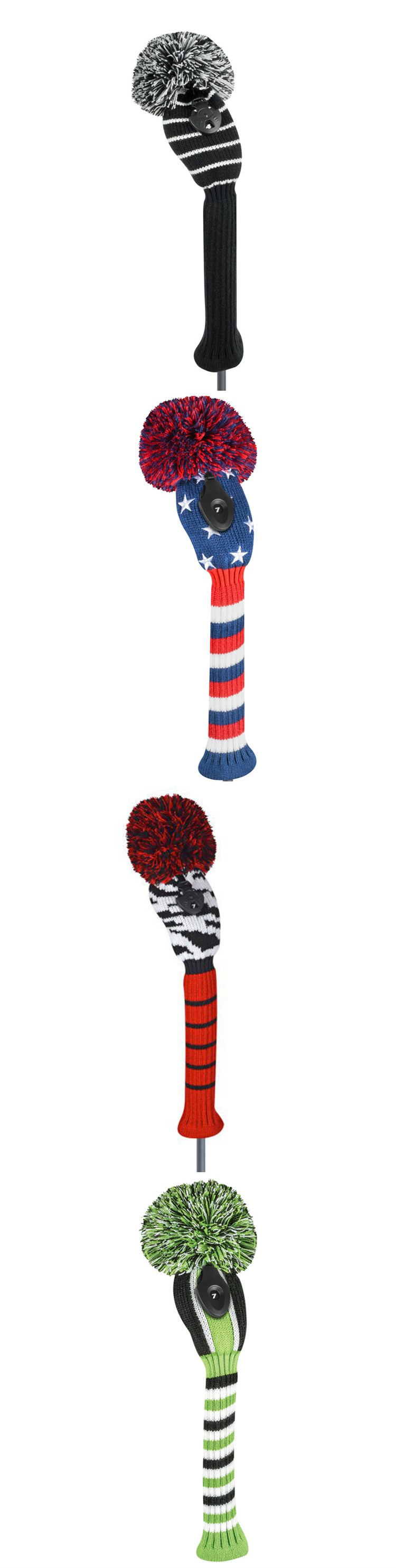 2020 knitted golf club head covers driver Pom Pom number tag golf head covers custom made golf driver head cover