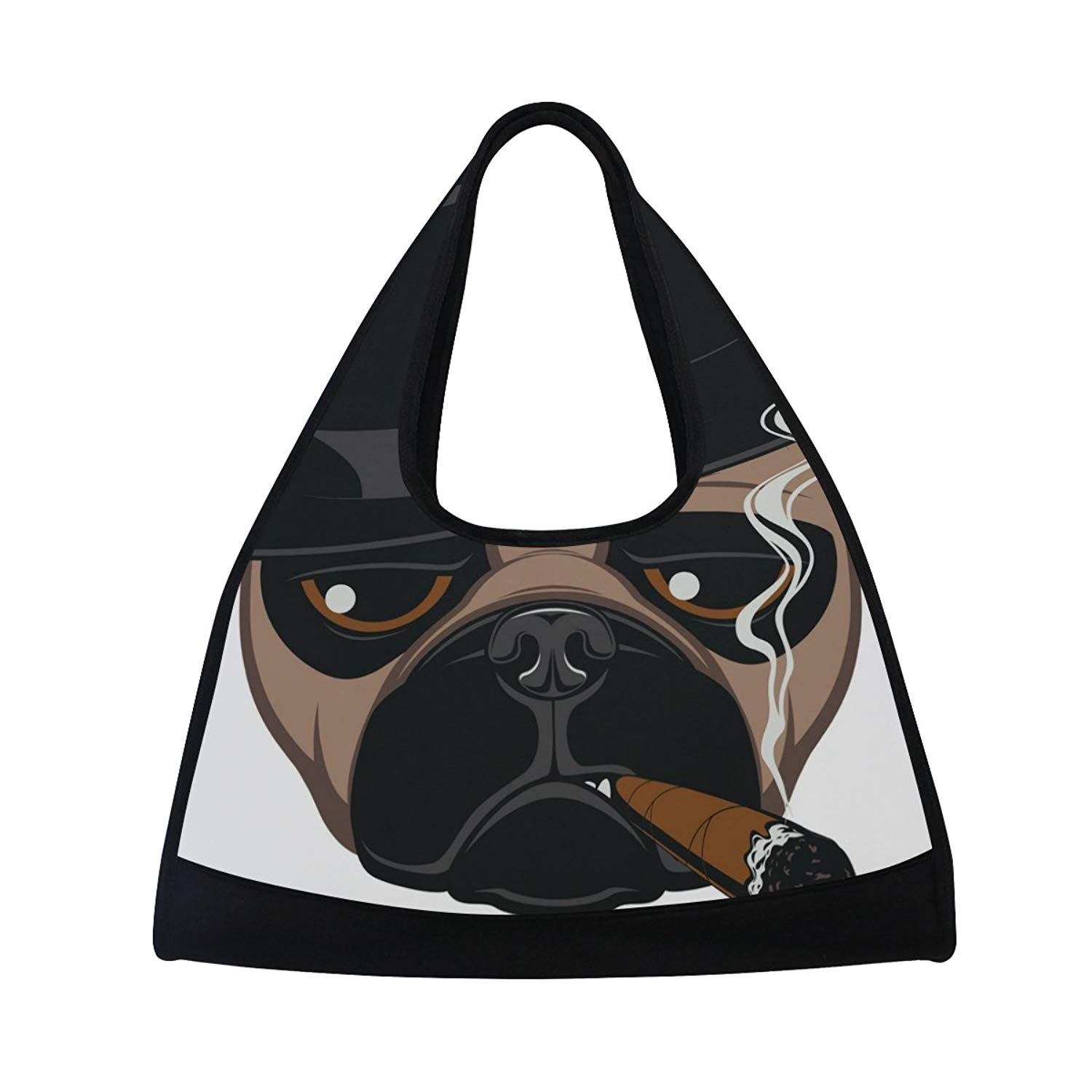 cf96d5a7dc05 MAPOLO Funny Pug With Cigar Travel Duffel Bag Sports Gym Bag Shoulder Bag