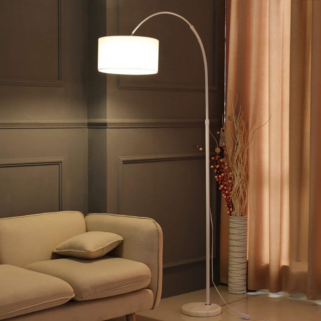 QYJZI Floor Lamps Floor lamp, eye protection LED reading light, bedroom bedside, living room, study room lamp, home office fishing floor lamp size: 27158-185cm (Color : White)