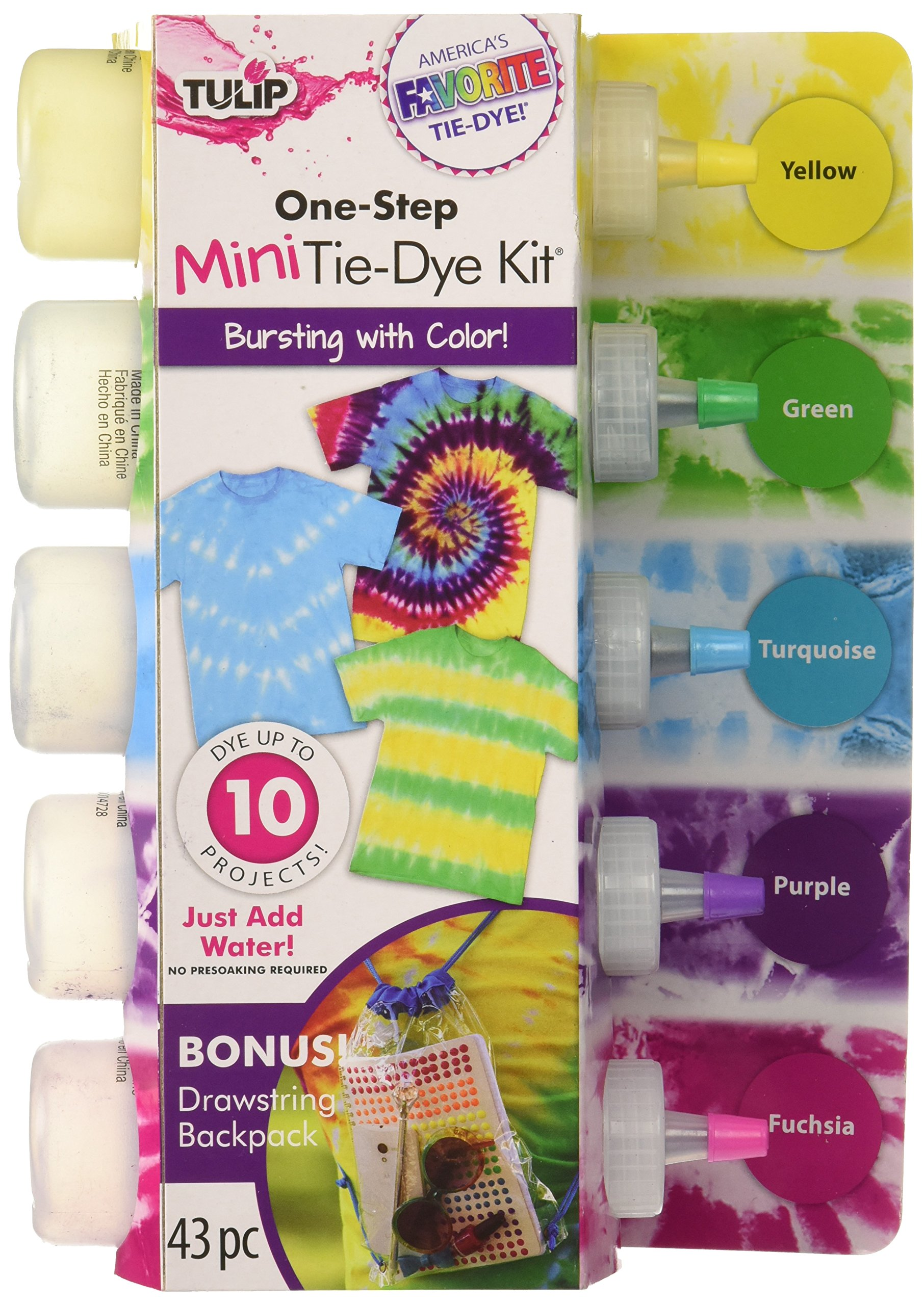 Tulip - One-Step 5 Color Tie-Dye Kits Rainbow,1.62oz and Tulip Rubber Bands 100-pc