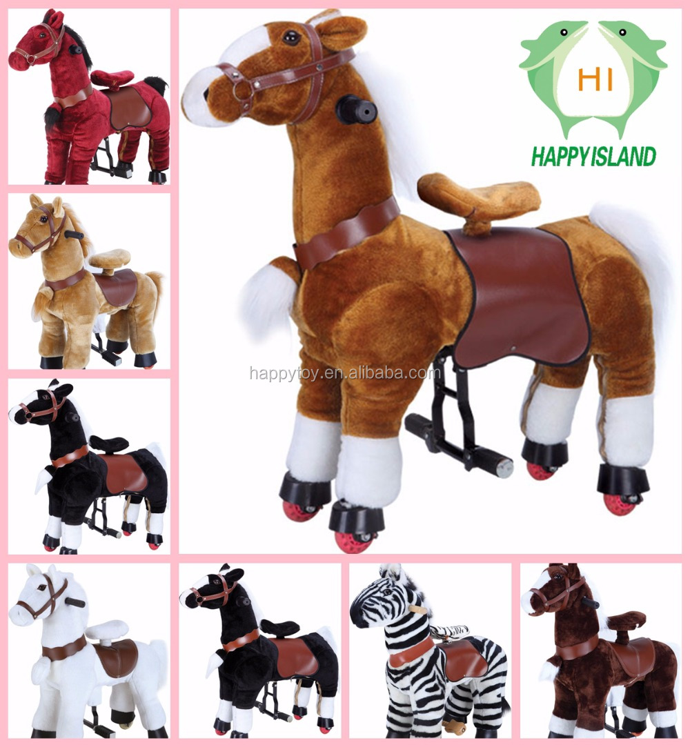 pony unicornio animales caminando paseo en caballo de juguete de felpa para parques infantiles