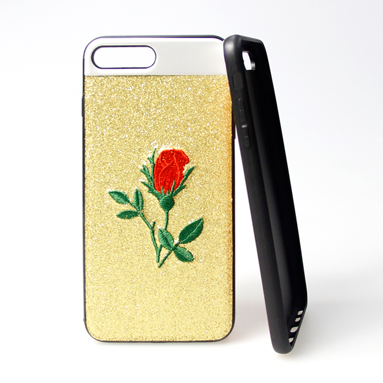 Fashion Style Mobile Phone Accessories Case , Giltter Sticker Embroidered Phone Case For iphone 6 plus