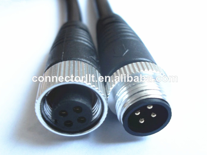 4 pole waterproof molded cable connector watertight wire connector