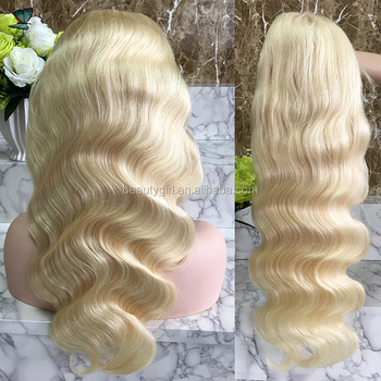 22 inch long brazilian virgin human hair from very young girls Body wave 613 blonde lace front wig
