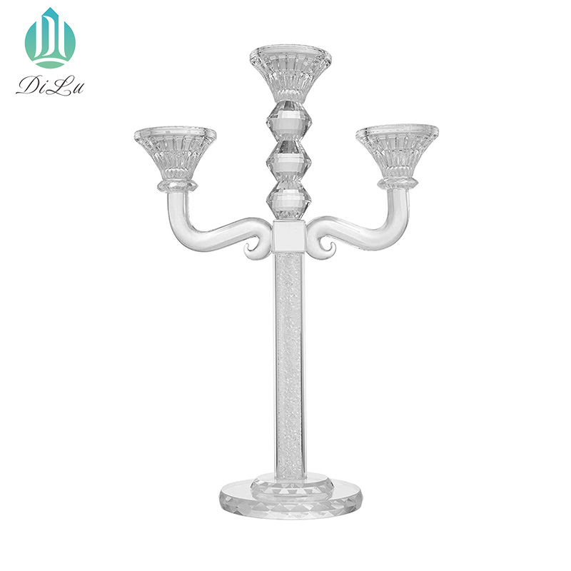 Custom size and logo Glass Hurricane 3 5 7 9 arms crystal wedding table centrepiece candelabra
