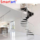 spiral stair with curved glass railing design / how to build a round staircase