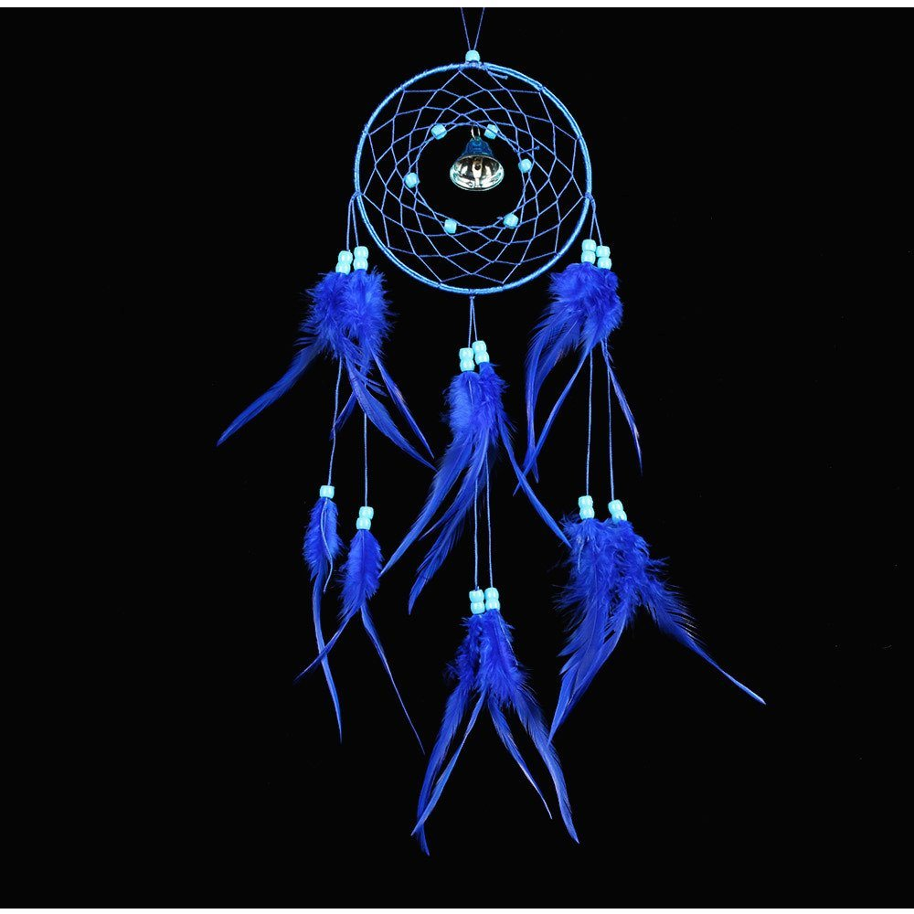 "QOCOO Traditional Handmade Wind Chime in Ring Dream Catcher with Blue Natural Feathers, 19.7"" Home Car Decoration Beautiful Wall Window Door Hanging Ornaments, Great Craft for Room or Gift"