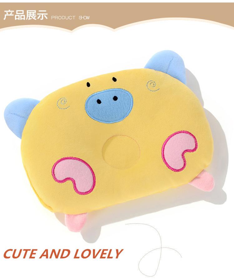 Z0005 Cute Cartoon Velvet Pig Shape Baby Pillow Preventing