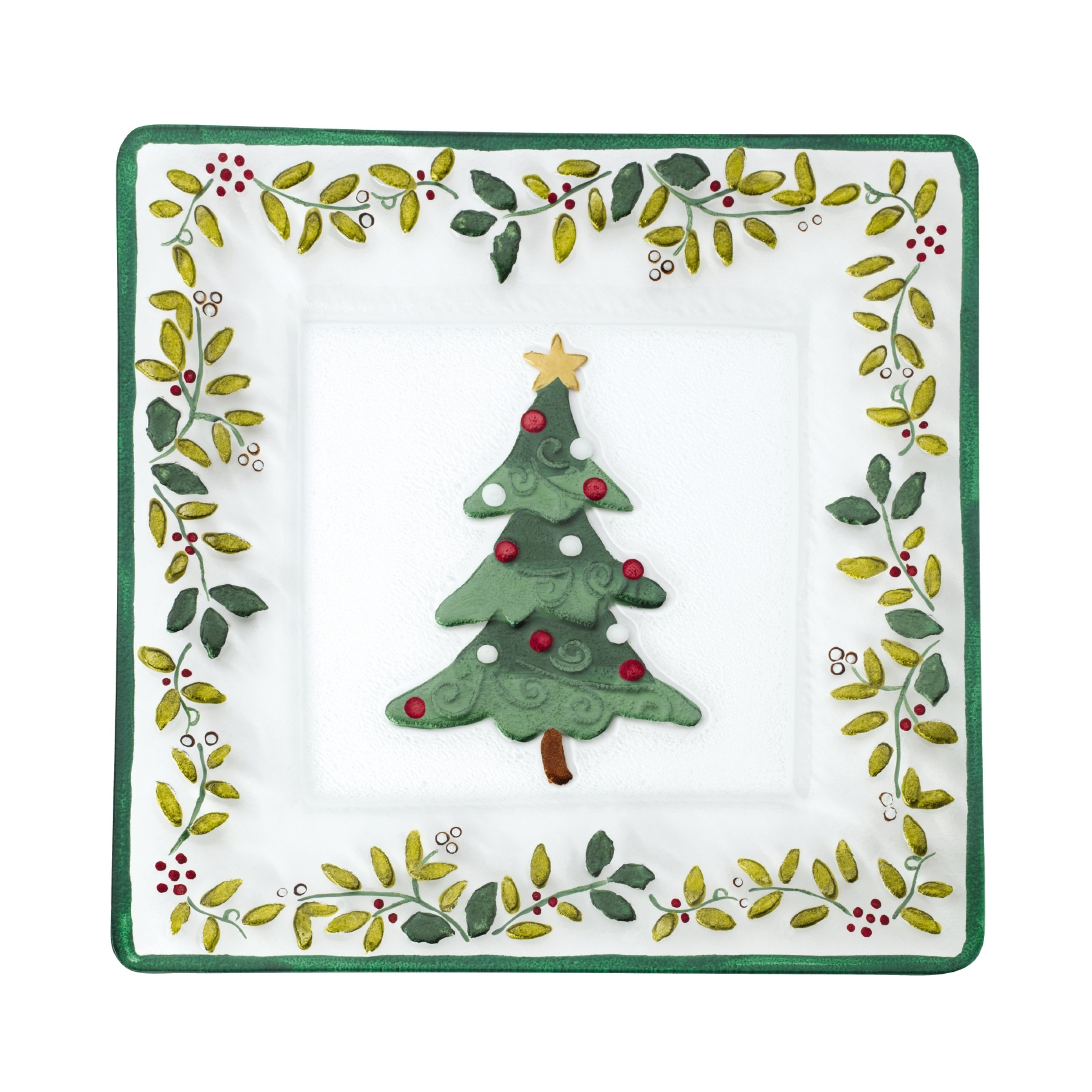 Pfaltzgraff Winterberry Handpainted Square Glass Christmas Tree Platter