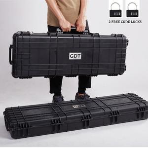 GD6064 Wholesale military and hunting carry gun box, waterproof shockproof hard plastic rifle trolley gun case with wheels