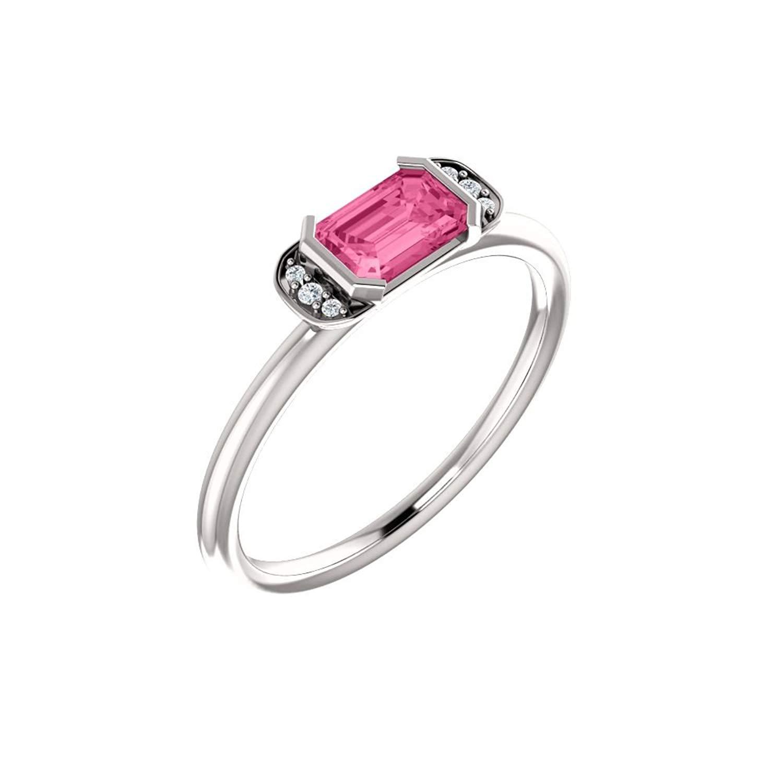 Bonyak Jewelry 14k White Gold Pink Tourmaline & .02 CTW Diamond Stackable Ring - Size 7