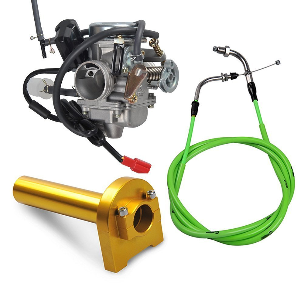 Nibbi Racing Carburetor for GY6 100CC 125CC 150CC Motorcycle Replacement Update Part Carb Throttle Cable Accelerator Handlebar (Carb + Throttle Cable + Handlebar (Golden))