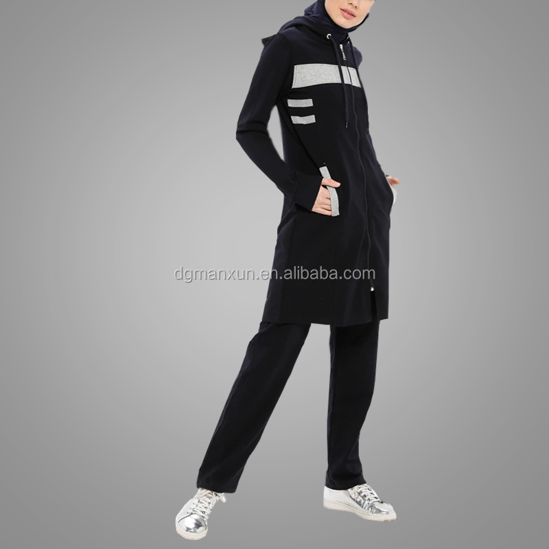 New Arrival Cotton Cosy Tracksuits Sportswear Zipper Front Black Ladies Sports Abaya Islamic Clothing Wholesale