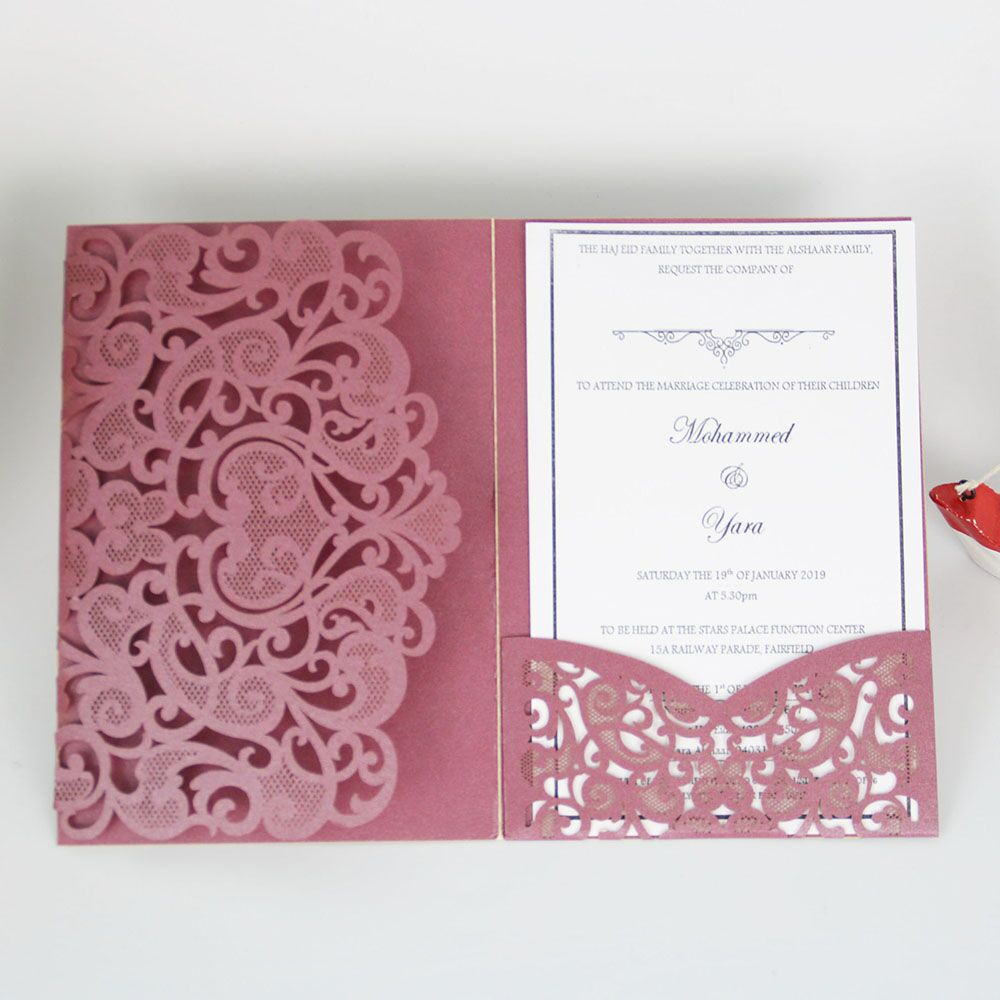 NEW Design Red Laser Cut Wedding <strong>Card</strong> Invitations Good Quality Wedding <strong>Cards</strong> for Wedding Guests