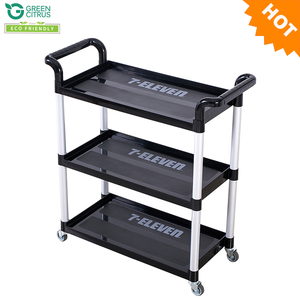 TOP QUALITY 3 Tiers Plastic Service Cart Plastic Food Trolley Cart / Plastic Service Hotel Cart for promotion