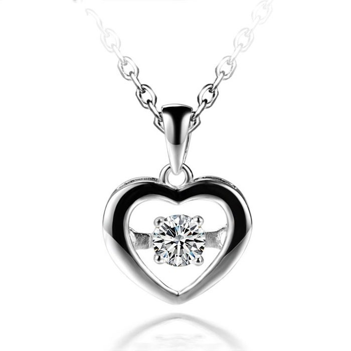 Aliexpress SJ Supplier SJP004 Romantic Women Lead Free Copper Alloy Gold Plated White Cubic Zircon Heart Pendant 7 Options