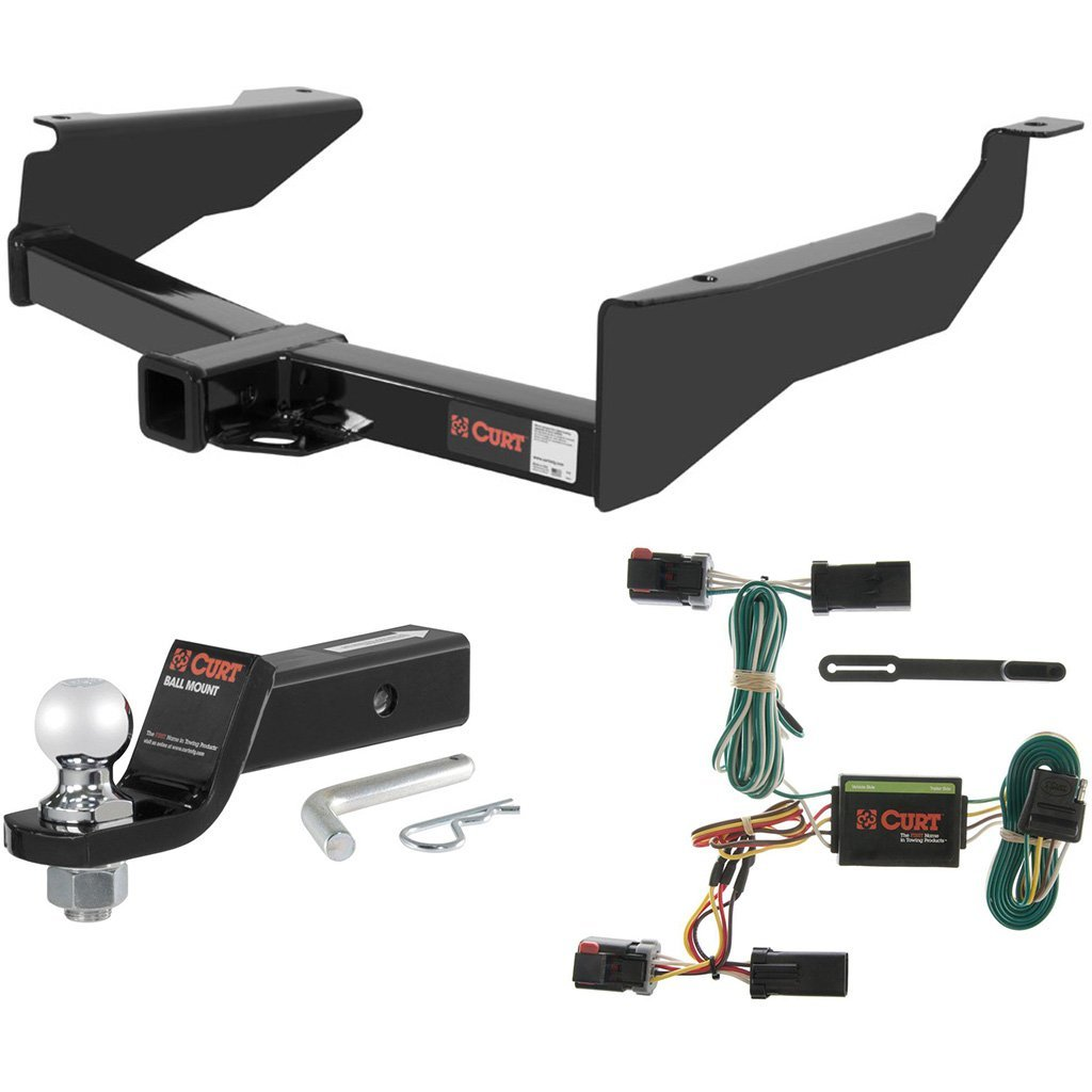 """CURT Class 3 Trailer Hitch Tow Package with 2"""" Ball for 1998-2003 Dodge Durango"""