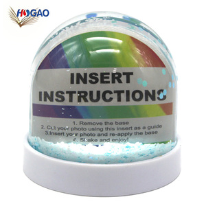 Custom color glitter base clear acrylic dome DIY acrylic photo insert water globe plastic empty snow globe