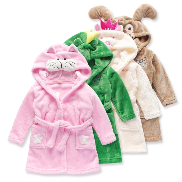 Get Quotations · Cute Cartoon Kids Robes Soft Flannel Pajamas Kids Boys  Girls roupao infantil Dinosaur Puppy Kitty 2T bc0b72238