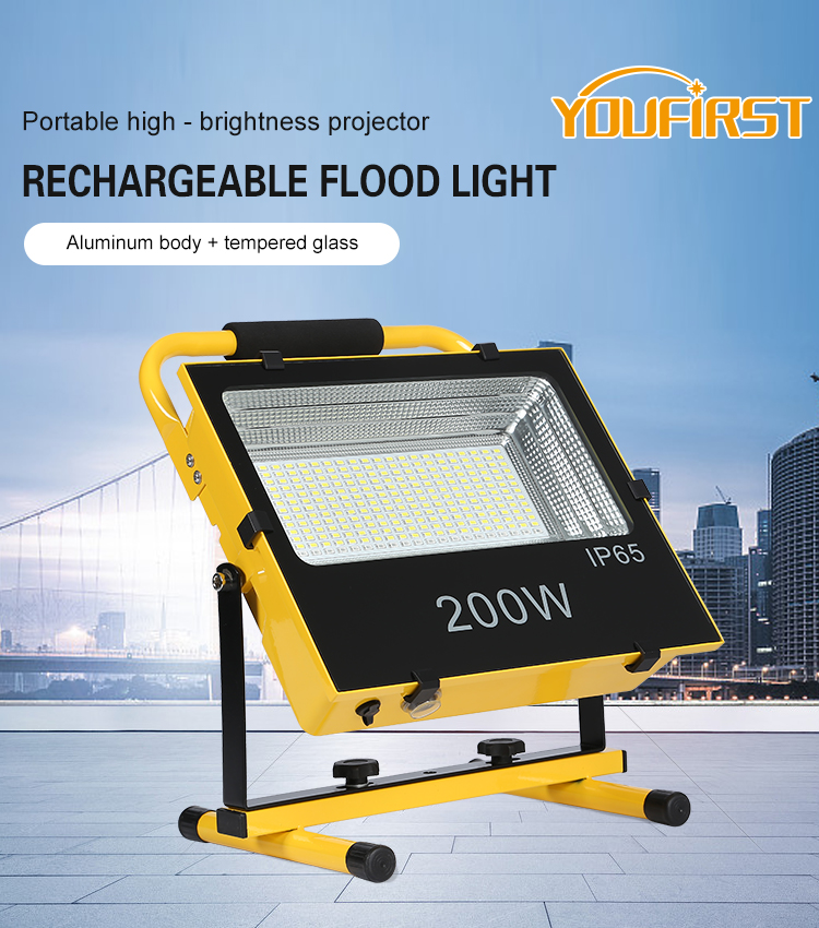 Portable SMD IP65 Tahan Air Outdoor 30 W 50 W 100 W 200 W Rechargeable LED Banjir Lampu