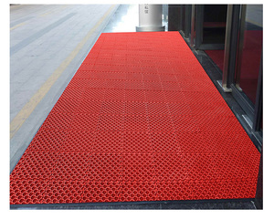 Anti-slip water proof modular hollow interlocking PVC commercial entrance floor mat