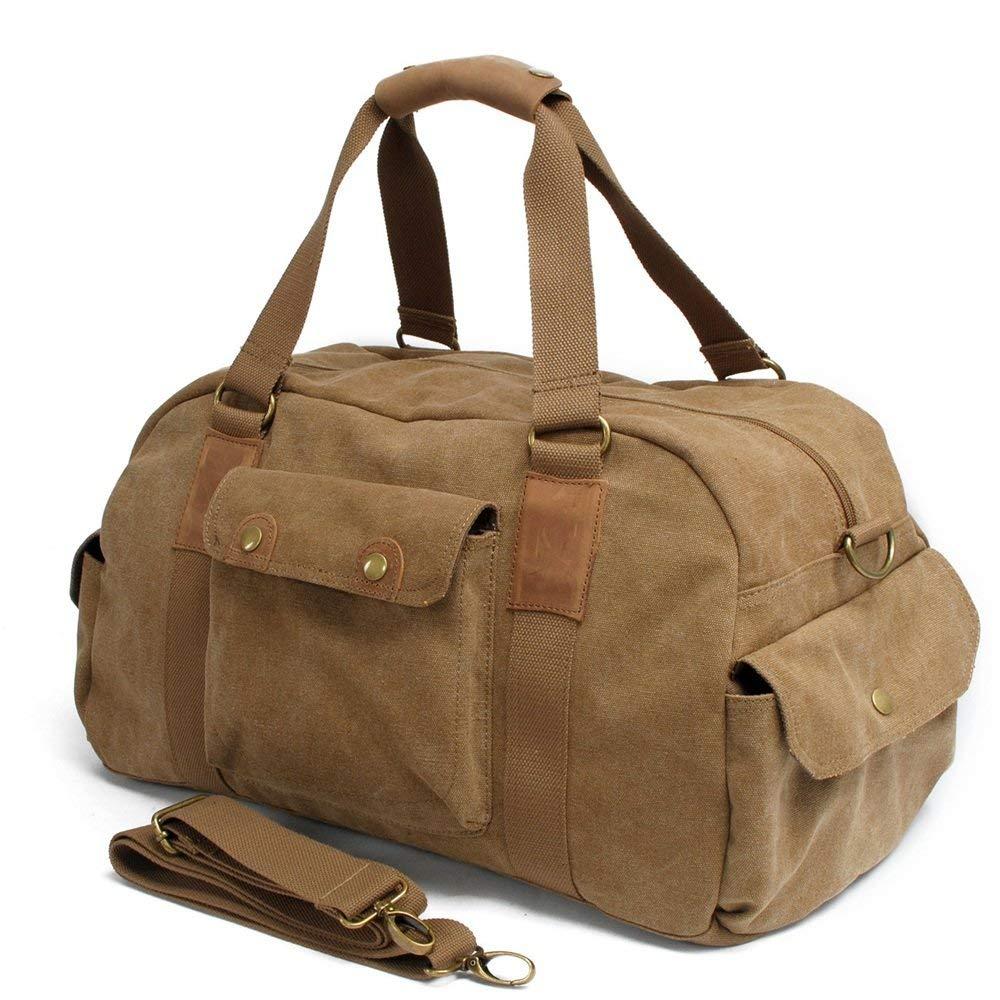Crystalzhong Canvas Travel Bag, Retro, Large Capacity Single Shoulder Bag, Handbag, Outdoor Sports Bag, Canvas Satchel.