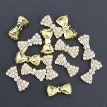 10 Pcs Glitter Gold Bow With Pearl 3D Rhinestones For Nail Art Decorations On Gel Polish