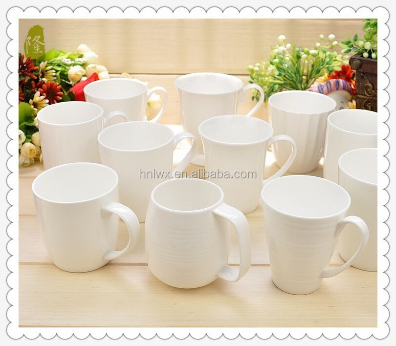 Personalized all kinds of shapes design of white ceramic cup