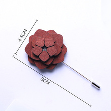 Mens boutonniere wooden floral lapel pins brooch for suits