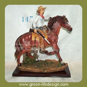 Polyresin western cowboy statue on horse