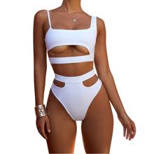 2019 Fashion Women Bathing Suits High Waist Swimwear Hollow out Swim Wear