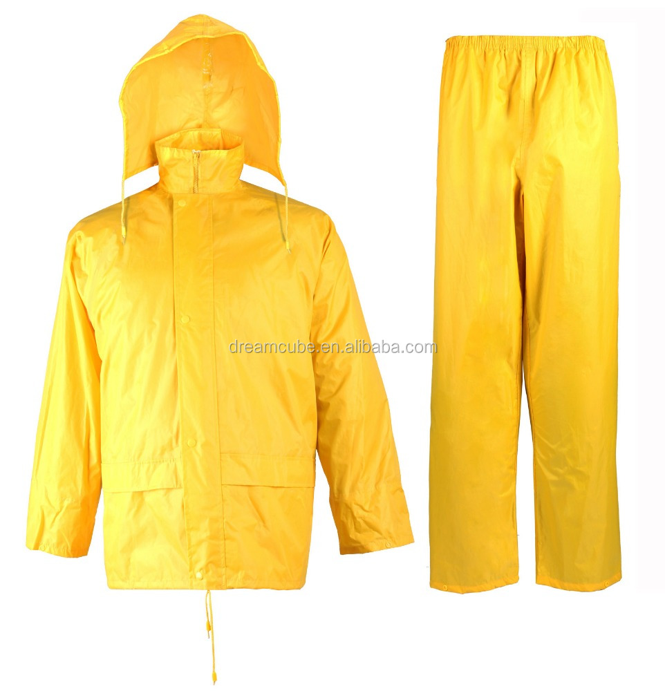 polyester pvc industrial rain gear, PVC rain gear yellow for workers with best price