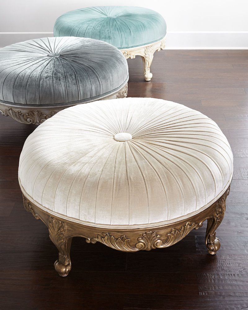 Royal Antique Round Ottoman Carved Furniture Bedroom