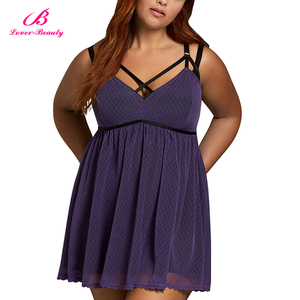 Big Discount Purple Deep V Neck Mesh Body Ruching Sexy Babydoll Set Lingerie Women