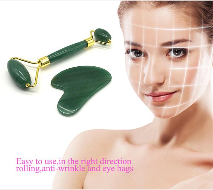 Di alta qualità per il viso massaggiatore quarzo rosa gua sha tool set rullo di giada con la scatola di imballaggio