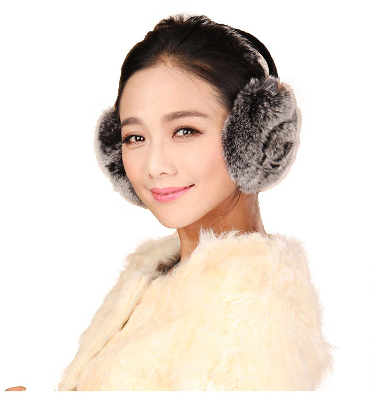 URSFUR Rex Rabbit Fur Emma Earmuffs with Rosette Multicolors